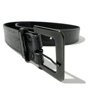 Marithe Francois Girbaud Black Leather Logo Belt S